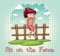 Girl sitting on fence illustration