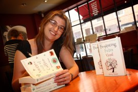 Author jenny Knae signs her latest book at Tiverton's Coast Coffee in Bampton street on Monday